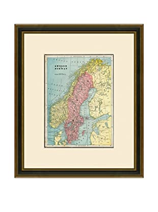 Antique Lithographic Map of Sweden & Norway, 1883-1903