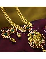 Laxmi God Pendant Peacock Design Smooth Finish Stylish Trendy Multi Line Jewellery Set