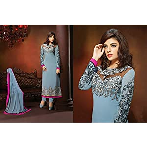 Georgette Embroidered Grey Pakistani Suit