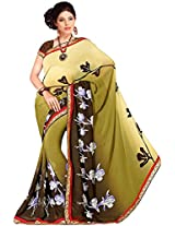 Shree Bahuchar Creation Women's Chiffon Saree(Skb44, Cream and Light Green)