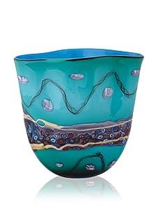 Viz Art Glass Turquoise Vase with Purple Stripe