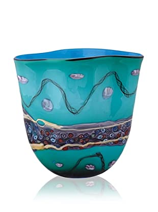 La Meridian Turquoise Vase with Purple Stripe