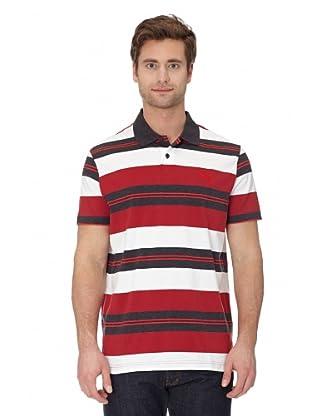 Puma Polo Shirt Striped Polo (dark gray heather-rio red)