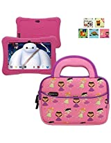 Evecase TABLET EXPRESS Y88X Kids Dragon Touch 7IN Android Tablet Sleeve, Cute Princess Themed Neoprene Travel Carrying Slim Sleeve Case Bag w/ Dual Handle and Accessory Pocket - Pink w/ Purple Trim