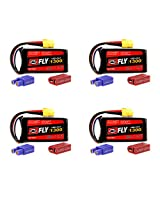 Venom Fly 30 C 2 S 1300m Ah 7.4 V Li Po Battery With Universal 2.0 Plug X4 Packs