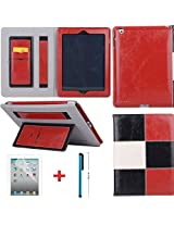 LYSTOCK iPad Air 2 Case, Grid Multi-color Luxury PU Leather Handle Case, with Kickstand Protective Sleeve Case Cover for Apple iPad Air 2/ipad 6 (#2)