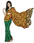 Amazing Green Faux Georgette Saree