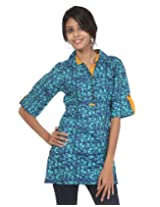 Rajrang Womens Cotton Kurta ,Green, Blue ,Small