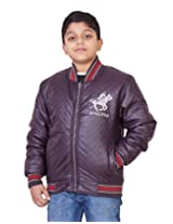 LITTLE BUGS Boy's Full Sleeve Leather Jacket -Wine