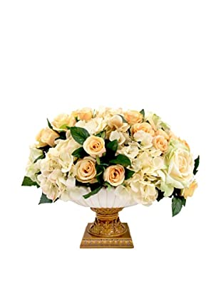 Creative Displays Cream & Yellow Rose & Hydrangea Floral in Urn, 20x15x19