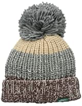 Woolrich Women's Wool Blend Brown Chunky Slouch Cuff Beanie with Matching Pom