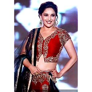 Madhuri Dixit In Maroon Lehenga At Manish Malhotra Fashion Show