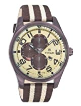 Titan Octane Multi-Function Chronograph Beige Dial Men's Watch - 9487QP01J