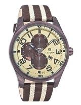 Titan Octane Multi-Function Chronograph Beige Dial Men's Watch - 9487QP01J