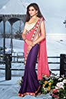 Bollywood Jacqueline Fernandez Georgette And Jacquard Saree in Pink And Purple Colour 10318