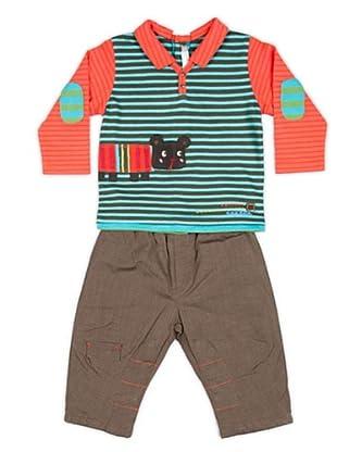 Cattimini Conjunto Camiseta / Pantalón Rayas (Verde)