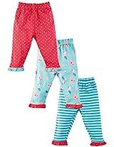Infant Girls Legging with Frill: Pack Of 3, Multi Colour (Newborn)