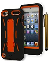 iPod Touch 5 Case, Bastex Heavy Duty Hybrid Case Soft Black Silicone Gel Cover with Neon Orange Hard Kickstand Case for Apple iPod Touch 5**INCLUDES STYLUS**