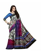 Abida Printed Multi Color Bhagalpuri Art Silk Saree With Blouse Piece