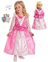 Little Adventures Sleeping Beauty Princess Dress sz 5-7 with Doll Dress, Hairbow & Coloring Book