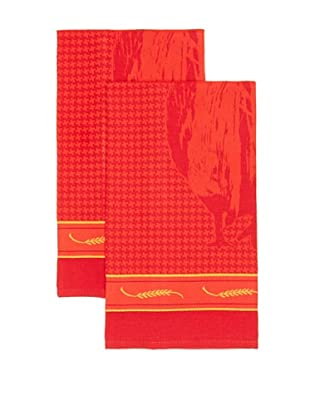Mierco Fine Linens Set of 2 Rooster Jacquard Tea Towels (Red)