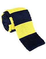 "Retreez Smart Casual Wide Stripes Men's 2.4"" Skinny Knit Tie - Navy Blue and Yellow"