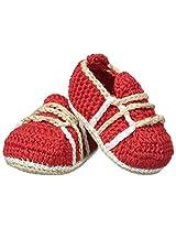 Jefferies Socks Baby Boys' Crochet Bootie, Red, Newborn