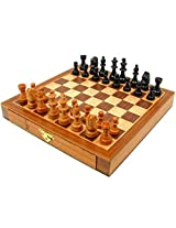 Elegant Inlaid Wood Chess Set Game Features Fabric Lined Drawers On Each Side For Convenient Piece Storage 9.0x9.0x1.0