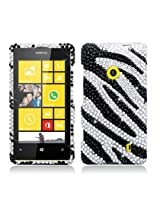 Aimo NK521PCLDI652 Dazzling Diamond Bling Case for Nokia Lumia 521 - Retail Packaging - Zebra Black with White