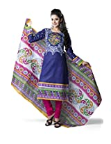 Rajnandini Women's Blue & Pink colour pure cotton Printed Unstitched salwar suit Dress Material (Free Size)
