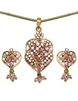 14.20 Grams Pink & White Cubic Zircon Gold Plated Pendant Set