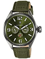Titan Purple Multi-Function Analog Green Dial Men's Watch - 9478QF03J