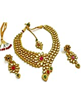 Divinique Jewelry elegant bridal kundan Necklace set with maang tikka