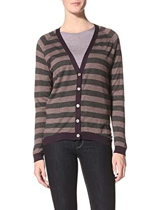 Kokun Women's Striped Reversible Cardigan (Charcoal/Chestnut)