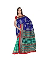 Sonal Trendz Blue & Green Color Printed Polyester Cotton Saree