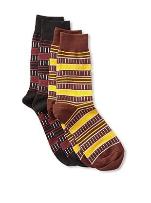 Richer Poorer Men's Ledger Socks (2 Pair) (Black/brown)