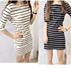 Women Striped Half Sleeve One-piece Cotton Blend Mini Dress