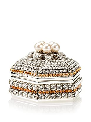 Isabella Adams Freshwater Pearl & Swarovski Crystal Hexagon Keepsake Box, November (Topaz)