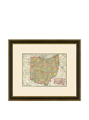Antique Lithographic Map of Ohio, 1886-1899