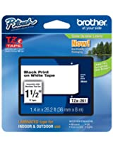 Brother Laminated Black on White 1 1/2 Inch Tape in Retail Packaging (TZe261)