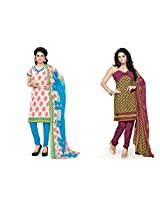 BanoRani Womens Combo Cream & Mehendi Green Color Casual & Printed PolyCotton Ladies Unstitched Salwar Suit Dress Material with Printed Dupatta