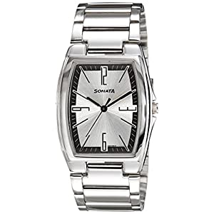 Sonata 7998SM02A Men's Analog Watch with Silver Dial