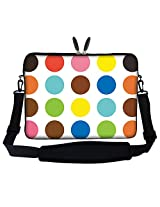 15 15.6 inch Colorful Dot Design Laptop Sleeve Bag Carrying Case with Hidden Handle & Adjustable Shoulder Strap for 14 15 15.6 Apple Macbook Acer Asus Dell Hp Sony Toshiba and More