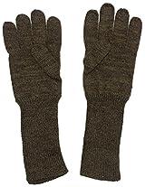 Graceway Unisex Pure Wool Long Gloves (5G1, Brown)