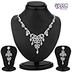 Sukkhi Appealing Rhodium Plated Australian Diamond Necklace Set [Jewellery]