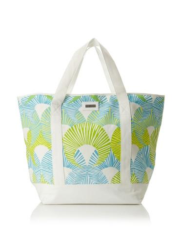 Julie Brown Medium Tote Bag with Cooler Lining (Green Fans)