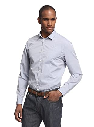 John Varvatos Collection Men's Shirt with Contrast Placket (Dusty Blue)