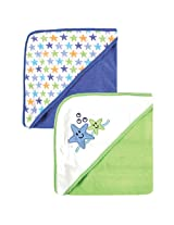 Luvable Friends 2-Pack Hooded Baby Towels Blue Starfish