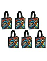 6 Pack Superman Non Woven Reusable Mini Party Tote Bags