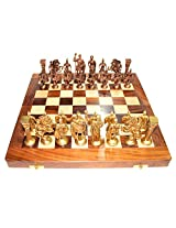 Prop It Up Vintage (14 InchX14 Inch) Wooden Chess Board With Brass Roman Piece